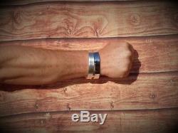 Mens Gents Argent Massif 925 X Lourd Vintage Matt Look Couple Bracelet