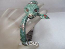 Mexique Vintage En Argent Sterling Émail Vert Serpent Articulé Bracelet Signé