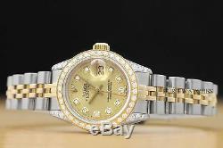 Montre À Cadran De Diamant, Lunette Et Cornes De Montres Rolex Champagne Pour Femme, Datejust En Acier, Or 18 Carats