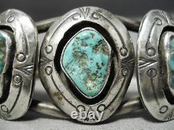 Musée Vintage Navajo Cerrillos Turquoise Sterling Silver Bracelet Vieux