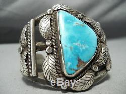 Musée Vintage Navajo Old Morenci Turquoise Bracelet En Argent Sterling Vieux