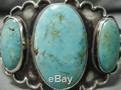 Museum Vintage Navajo Royston Turquoise Bracelet En Argent Sterling Vieux