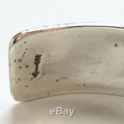 Native American Vintage Hopi Argent Sterling Overlay Bracelet 33 Gr Signé