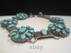 Native American Vintage Old Pawn Navajo En Argent Sterling Turquoise Bracelet