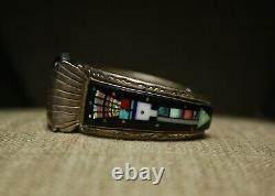 Native American Vintage Zuni Micro Inlay En Argent Sterling Montre Bracelet