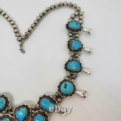 Native Navajo 166g Vintage Squash Blossom Sterling Silver Turquoise Collier