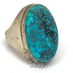 Navajo Mens Turquoise Ring Sz 9 Vtg Big Sterling Silver 29g Fabriqué À La Main Indien