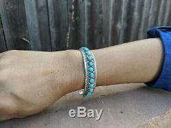 Navajo Turquoise Bracelet Vintage John Mike Native American Manchette En Argent Sterling