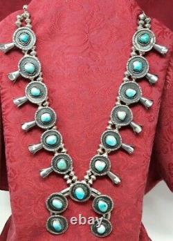 Navajo Vintage Argent Sterling & Turquoise Sud-ouest Vieux Pawn Squash Blossom