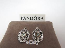 Nouveau Avec Box Pandora Vintage Allure Compose 2 Tone Earrings 290678ssg