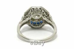 Octagon Vintage Art Déco Halo Anneau 1.9 Ct Diamant Saphir Antique 14k Or Sur