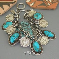 Old Pawn Turquoise Navajo Charm Bracelet Vintage Mercury Dime Pendentif Sterling
