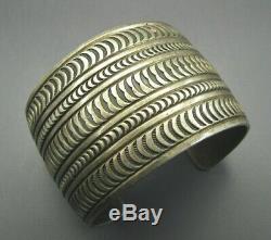 Old Pawn Vintage Stunning Argent Sterling Large Bracelet Patine Stamped