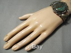 Opulent Vintage Navajo Royston Turquoise Bracelet En Argent Sterling Vieux