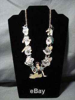 Opulent Vintage Navajo Zuni Turquoise Collier En Argent Sterling Squash Blossom