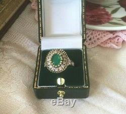 Or Vintage Bague En Argent Sterling Avec Émeraude Blanc Saphirs Antique Bijoux