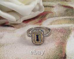 Or Vintage Bague En Argent Sterling Bleu Blanc Saphirs Antique Déco Bijoux 10