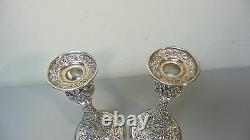 Paire Vintage Kirk Repousse Sterling Silver 9.75 Chandeliers, 850 Grammes