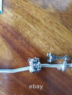 Pandora 7.5 Vintage Sterling Silver Bracelet & 14 Charms, Barrel Clasp Ale/925