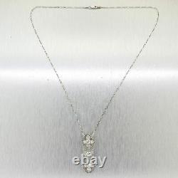 Pendentif Antique Vintage Art Déco Filigree 14k Or Blanc Plus De 2 Ct Diamant Rond