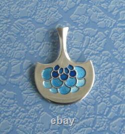Pendentif En Argent Sterling Vintage David Andersen Avec Design En Émanel Bleu