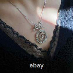 Pendentif Victorian Drop Milgrain Sans Chaîne 2.74ct Diamant 14k Or Blanc Sur
