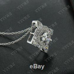 Pendentif Vintage Avec Diamants De Coupe Ronde De 1,50 Ct Avec Une Chaîne En Or Blanc 14k À 18 Chaînes