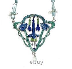 Pendentif Vintage En Argent Art Nouveau Floral Émail