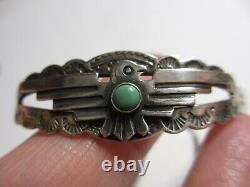 Petit Vtg Navajo Fred Harvey Era Sterling & Turquoise Thunderbird Cuff Bracelet