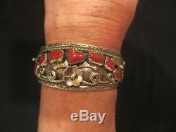 Pion Natif Vintage Navajo En Argent Sterling Foliate Corail Bracelet Signé