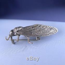 Rare Art Nouveau En Argent Sterling Cicada Broche / Antique Pin D'insectes Chanceux