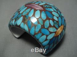 Rare! Bracelet Manchette Vintage En Argent Sterling Avec Turquoise Incrusté Dans Du Kewa De Santo Domingo
