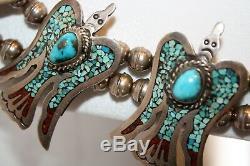 Rare Collier De Fleurs De Peyote Vintage Navajo Vintage Signé À La Main Par J. Nelson