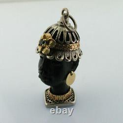 Rare Ebony Sculpté Blackamoor 18k Or Sterling Argent Vintage Pendentif De Charme