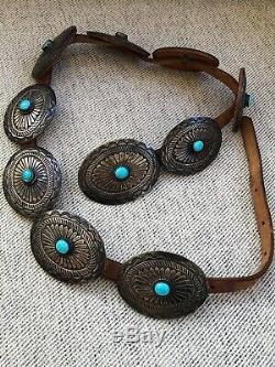Rare Super! Navajo Sud-ouest Vintage En Argent Sterling Et Turquoise Concho Ceinture