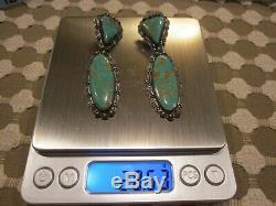 Rare Vintage Navajo Argent Sterling Vert Turquoise 2,75 Long Dangle Boucles D'oreilles