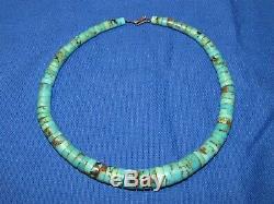 Rare- Vintage Navajo Royston Collier Disque Heishi Turquoise Vieux Pion En Argent