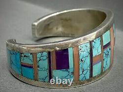 Rare Vintage Navajo Sterling Argent Turquoise Multi Stone Incrustation Bracelet