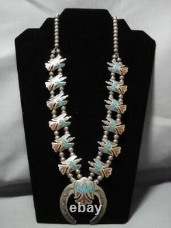 Rare Vintage Navajo Turquoise Coral Sterling Silver Squash Blossom Collier