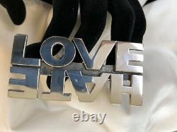 Rare Vintage Sterling Silver King Baby Studio Love Over Hate Four Finger Ring