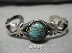 Rare Vintage Vintage Navajo Royston Turquoise Bracelet En Argent Sterling