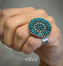 Rare Vintage Zuni Amérindien En Argent Sterling Turquoise Bague Unique Cluster
