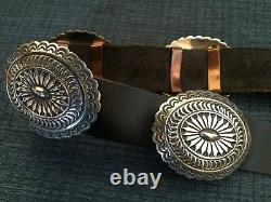 Rare Vtg Navajo Willie Shaw Signé Sterling Silver Concho Belt Museum Quality