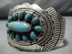 Remarquable Vintage Navajo Royston Turquoise Bracelet En Argent Sterling Vieux