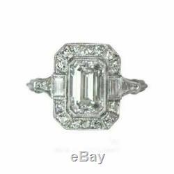 Rétro Art Déco 3 Ct Diamant Emeraude Or Blanc 14k Plus De Bague De Fiançailles