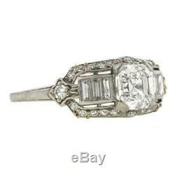 Rétro Art Déco Bague De Fiançailles 2,82 Ct Diamant Rond D'or 14k Plus