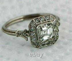 Retro Vintage 1.4 Ct Asscher Diamond Fiançailles Bague De Mariage Or Blanc 14k
