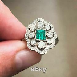 Rétro Vintage Antique Art Déco Bague De Fiançailles En Or 14k Cluster Plus 3tc Emerald