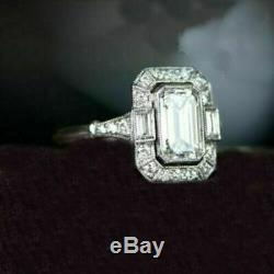 Rétro, Vintage Art Déco Bague De Fiançailles 4 Ct Emerald Diamant Or Blanc 14k Plus