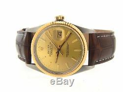 Rolex Datejust 16013 Montre En Acier Inoxydable 18k Pour Homme Cadran Champagne Marron